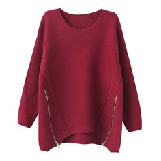 Chicnova Fashion Pure Color Long Sleeves Loose Fit Knitwear ($24) ❤ liked on Polyvore featuring tops, sweaters, shirts, chicnova, red top, shirts & tops, red sweater, loose fit sweater and loose fitting shirts