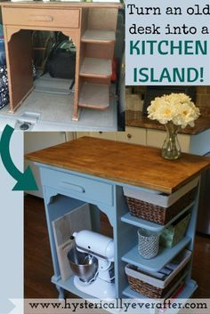 DIY - turn a desk into a kitchen island! So easy, so inexpensive, so smart!! www.hystericallyeverafter.com
