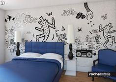 #Camera da #letto con# carta da parati di #Keith #Haring, versione in #blu