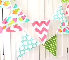 6 Feet Banner, Bunting, Fabric Pennant Flags, Ice Cream Cones, Polka Dots, Pink Chevron, Girl's Birthday Party Decor on Etsy, $22.00
