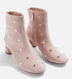 These elegant black ankle boots have been speckled with charming heart studs. Featuring a mid heel and side zip fastening, they'll put a spring into your step. Heel height is approximately Textile. Women's Shoes, Buy Shoes, Me Too Shoes, Nike Shoes, Soccer Shoes, Golf Shoes, Red Ankle Boots, Studded Ankle Boots, Ankle Booties