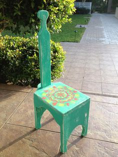 Hand Painted Step Stool With Handle