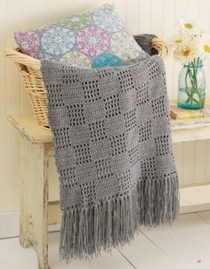 Picture of Filet Afghans ~ Neutral gray Checkerboard with long fringe
