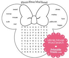 Printable Minnie Mouse Word Search from PrintableTreats.com