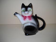 Vintage West German  Cortendorf Ceramic Cat Teapot Coffee Pot by Modernaire on Etsy