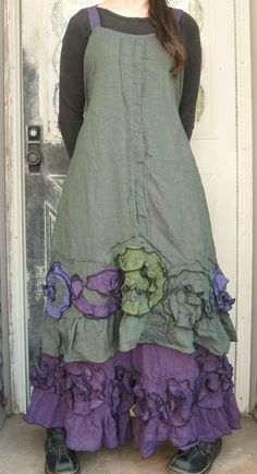 Purple Green Crossweave Flouncey Swirl door sarahclemensclothing,