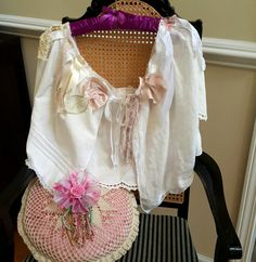 Wispy delicate tattered fairy shawl, wrap made with vintage linens