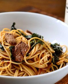 Spicy Beef and Kale Noodles Recipe