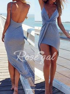 Sexy Spaghetti Strap Solid Color Irregular Hem Women's Dress Club Dresses | RoseGal.com Mobile