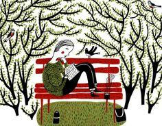 Leyendo en el parque: es primavera (ilustración de Mina Braun)