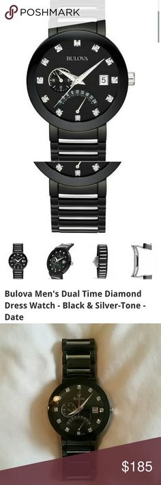 Men's Bulova Diamond Accent Watch Model?98D109 12 genuine diamonds.Stainless steel case and bracelet with black finish and silver-tone accents.Dual time.Date window at the 3 o'clock position.Curved glass crystal.Screw in caseback.Water resistant to 30 met