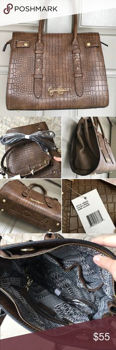 """Jessica Simpson Allison Henna Crossbody Bag NWT - Faux Brown Alligator embossed Jessica Simpson bag. The actual bag measures 10""""x12"""". No trades, please. Price is firm. Jessica Simpson Bags Shoulder Bags"""
