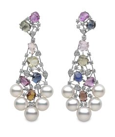 Yoko London white gold Aurora earrings from the Masterpiece collection, featuring Australian South Sea #pearls, multi-coloured sapphires and diamonds.