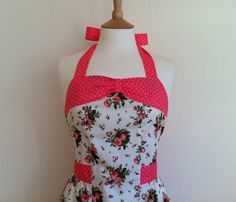 Retro apron with bow coral peach floral on a cream by RosieAnnShop, £22.00