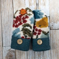 Wool Sweater Mittens - Warmest upcycled, felted 100% wool and DOUBLE lined, cream, turquoise, flowers, suede palm Sweater Mittens, Wool Sweaters, Turquoise Flowers, Softies, Felting, Wool Felt, Upcycle, Palm, Handmade Items