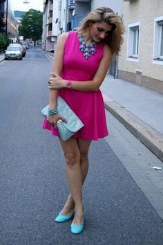 Turquoise blue pittarello shoes hot pink zara dress sky blue h purse