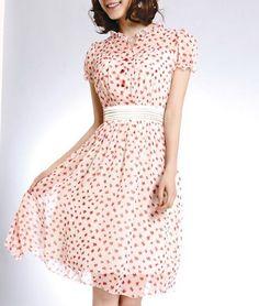 Lotus Cap Chiffon Pleated Tea Dress