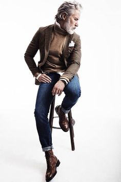 Brown Tweed Jacket, Camel Sweater, Fitted Jeans, and Brown Leather Boots. Men's Fall Winter Fashion.
