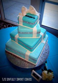 My Tiffany blue turquoise & Co. Company GORGEOUS wedding cake with bling rhinestone ribbon customized to say Marquez & Co.!