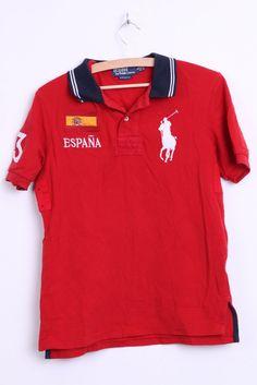 Ralph Lauren Espana Mens S Polo Shirt Red Custom Fit Cotton Top - RetrospectClothes