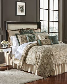 New Anora Reversible Comforter Set by Waterford Bedding. Bedding Furniture from top store Gold Bedding Sets, Bedding Sets Online, Queen Comforter Sets, Luxury Bedding Sets, Modern Bedding, King Comforter, Teal Bedding, Bed Linen Design, Bed Design