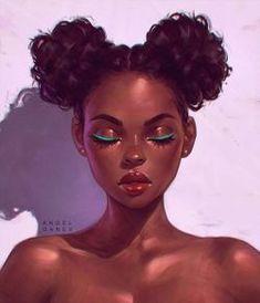 — Portrait by Angel Ganev 'Teal Eyeliner' Black Women Art! — Portrait by Angel Ganev 'Teal Eyeliner' Art Black Love, Black Girl Art, Black Girls Drawing, Teal Eyeliner, L'art Du Portrait, Digital Portrait, Black Girl Cartoon, Black Art Pictures, Black Artwork