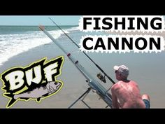 BEACH FISHING CANNON BAIT CASTER 300 YARD CASTING OFFSHORE 6 FOOT SHARKS BUNKER UP FISHING - YouTube