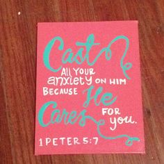 Bible Verse Canvas 1 Peter 5:7 Easy artwork that inspires