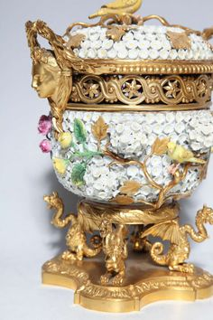 Pair of Meissen Schneeballen and Intricately Ormolu Mounted Potpourri Vases | From a unique collection of antique and modern porcelain at http://www.1stdibs.com/furniture/dining-entertaining/porcelain/