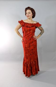 5b3f946dc410 Reserved // 1950s Vintage Dress...Holomuu Novelty Print Tiki Hawaiian Red  Gold 50s Floor Length Cotton Hostess Dress Size Medium