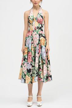 Maiolica Tie Strap Tank Midi Dress Dolce & Gabbana YDN91