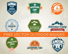 Camping and outdoor badges - free vector pack