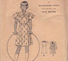 Girls' 1930s Dress Pattern Butterick 5137 Size by OneMoreCupOfTea, $12.00