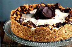 Vegan Peanut Butter Pie with a Crispy Pretzel Crust