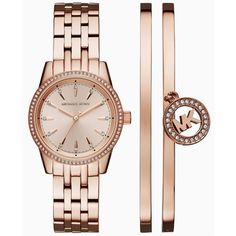 Michael Kors Women's Ritz Rose Gold-Tone Stainless Steel Bracelet... ($350) ❤ liked on Polyvore featuring jewelry, watches, rose gold, stainless steel watches, michael kors jewelry, bangle bracelet watch, stainless steel jewelry and stainless steel bangles