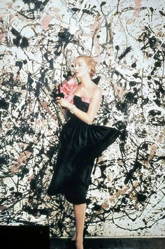 6-1-12  Model in front of Jackson Pollock painting, by Cecil Beaton for Vogue, 1951