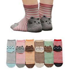 funny cat socks for women - Womens Girls Stripe Cute Cat Cotton Soft Pattern Crew Socks 6 Pairs (Cat 6 Pack) >>> Check out this great product. (This is an affiliate link) Blue Q Socks, Hipster Girls, Sock Animals, Funny Socks, Crazy Socks, Fashion Socks, Cotton Socks, Christmas Cats, Christmas Stockings
