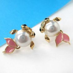 Small Fish Goldfish Sea Animal Stud Earrings with Pearl Details $6 #goldfish #animals #jewelry #earrings #cute