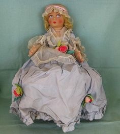 Perfect tea party guest!  Lenci Bambola Felt Doll with Blue Taffeta Dress with Tags