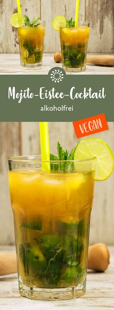 Mojito-Eistee-Cocktail – alkoholfrei Mojito iced tea cocktail – non-alcoholic Drinks Alcoholicas, Iced Tea Cocktails, Mojito Cocktail, Healthy Drinks, Rainbow Cocktail, Summer Cocktails, Tea Recipes, Smoothie Recipes, Smoothies