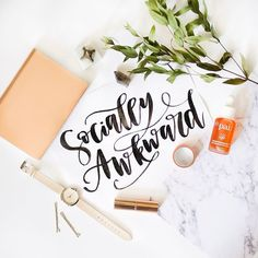 Can anyone relate? I feel like I'm just the most socially awkward person ever and sometimes it gets me into trouble :D Hand Lettered Quote | Instagram Flatlay | Pineapple Jam Design Graphic Design Studio