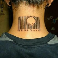 Broken barcode tattoo, smaller, behind the ear with a Scripture for the numbers