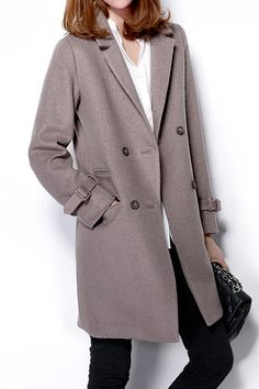 #Aprilwe  Retro Lapel Double-breasted Back-slit Trench Coat