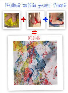 Fun outdoor painting - with your feet! A great sensory play experience.
