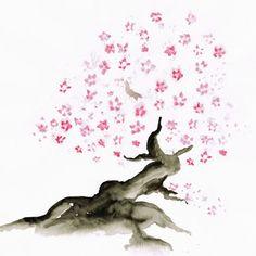 Aquarell Kirschblüten