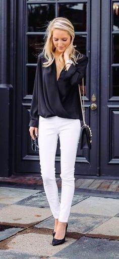 spring fashion Black Blouse & White Skinny Jeans & Black Pumps