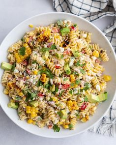 Corn Pasta Salad Recipe, Healthy Pasta Salad, Corn Salad Recipes, Summer Pasta Salad, Easy Pasta Salad, Healthy Pastas, Cold Corn Salad, Easy Cold Pasta Salad, Veggie Pasta Recipes