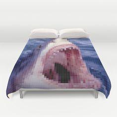 Shark - Jaws - Pixel Duvet Cover College Dorm List, Shark Jaws, Duvet Covers