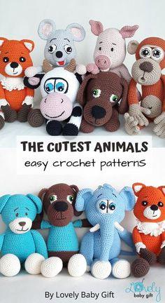 Cute Animal Toys Crochet Patterns Amigurumi. #lovelybabygift #amigurumi #crochetanimals Easy Amigurumi Pattern, Amigurumi Doll, Crochet For Boys, Diy Crochet, Baby Shower Gifts For Boys, Baby Gifts, Baby Girl Patterns, Tapestry Crochet, Pet Toys