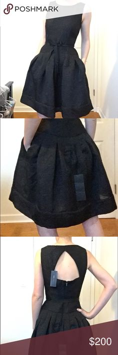 "BCBG black Delphine cocktail dress Never worn, tags attached, lined with tule skirt, pockets. Fabric is semi-matte with a silky feel and a subtle brocade texture/pattern. Model is 5'7"" and 115 lbs and dress is slightly loose. BCBG Dresses"